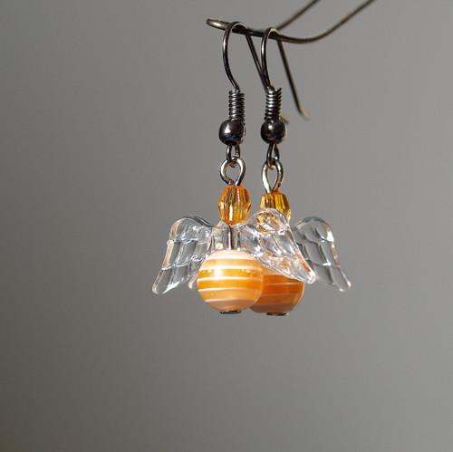 Náušnice - oranžový proužkatý anděl