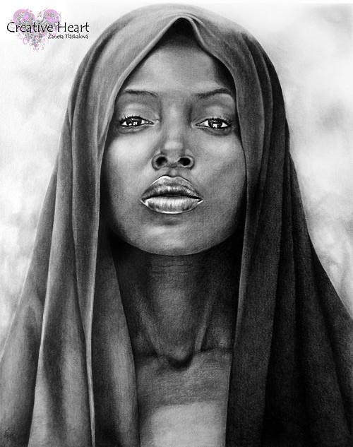 Portrétní obraz tužkou 50 x 60 cm