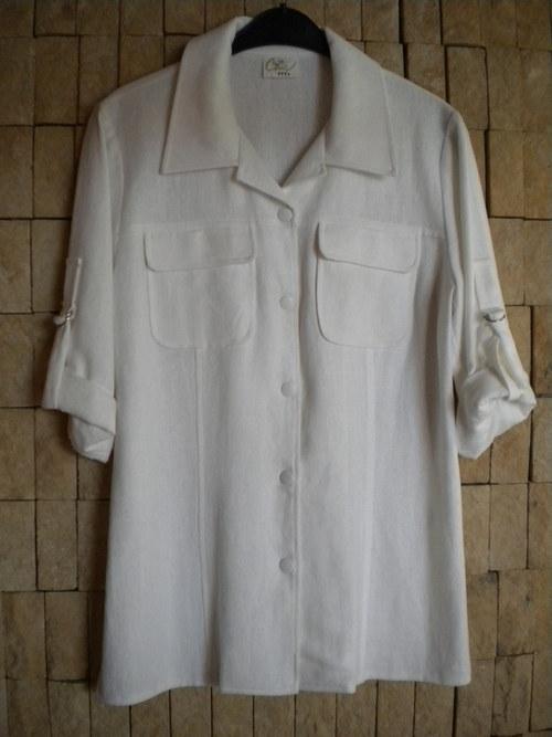 Bílý letní kabátek ze lnu - AKCE