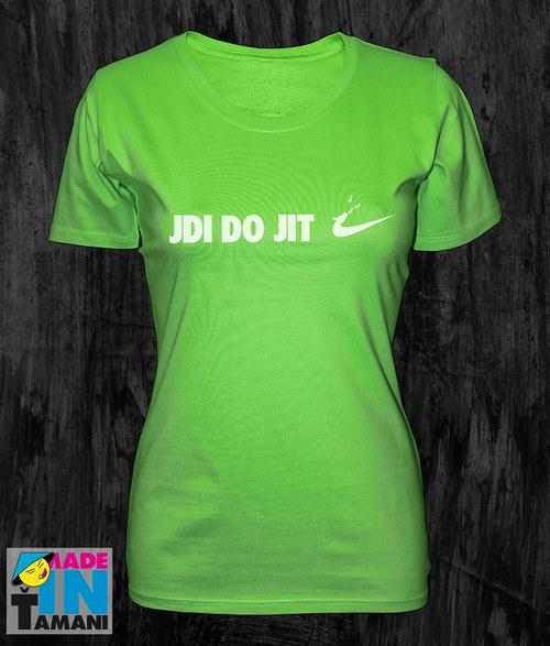 Dámské limetko zelené tričko Jdi dojit 02