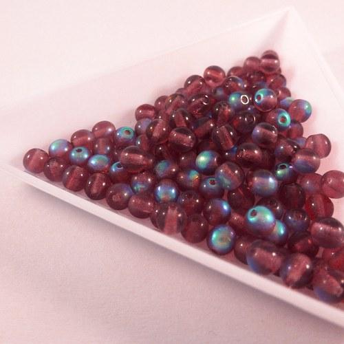 Kuličky 4 mm fialové AB 100 ks