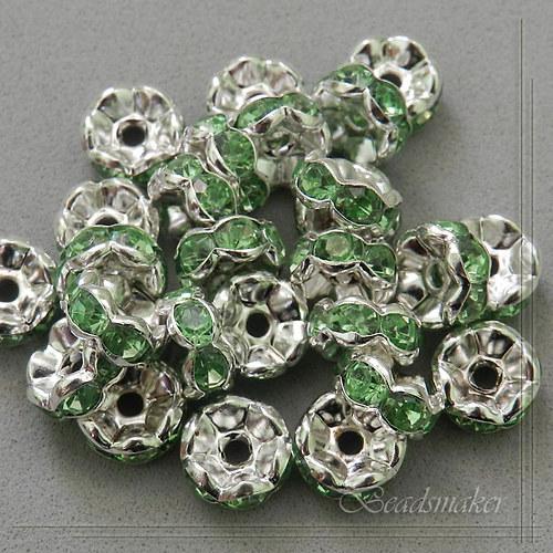 Šatonové rondelky, zelené, 8 mm - 5 ks