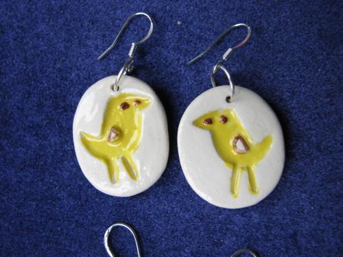 Keramické náušnice - žlutí ptáčci
