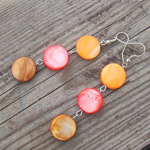 náušnice perleť v barvě podzimního listí
