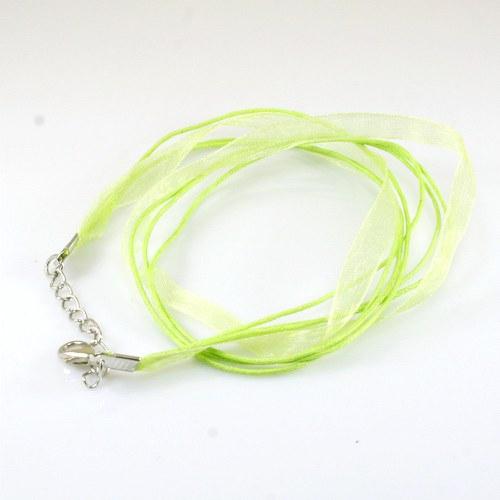 Organza a voskované šňůrky, sv. zelená barva