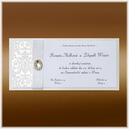 Luxusní svatební oznámení s broží