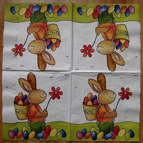 VEL 012 - ubrousek 33x33 - zajíc s nůší