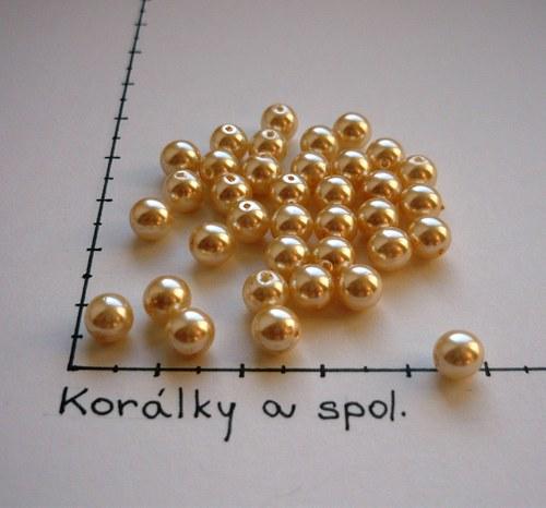 Perle skleněné voskované smetanová 6mm, 36 ks