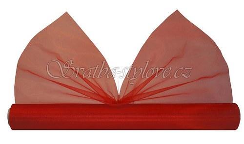 Svatební červená organza 36cm x 9m