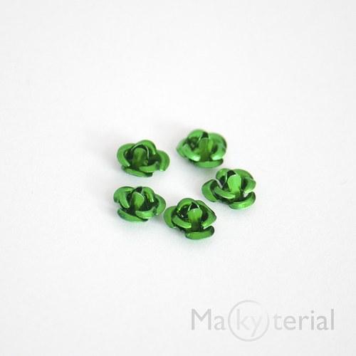Kovová růžička - zelená - 20 ks