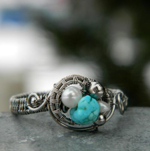 Prstýnek s perlou a tyrkysem