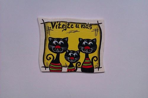 Cedulka na dveře uvítací-kočky