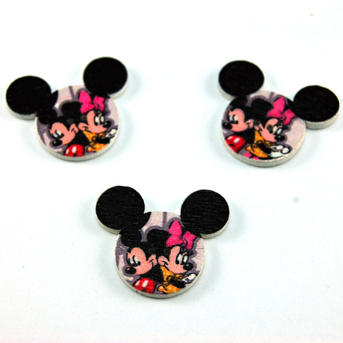 dřevěný knoflík Mickey a Minnie - 3 ks