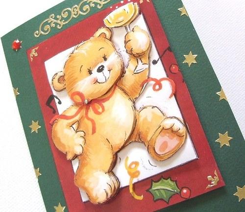 Blahopřání veselé Vánoce s medvídkem a skleničkou