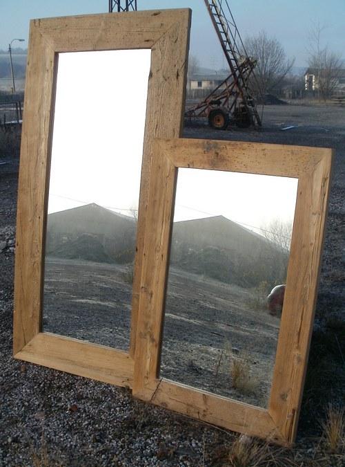 Originální zrcadlo 180x90 ze starého dřeva NATUR