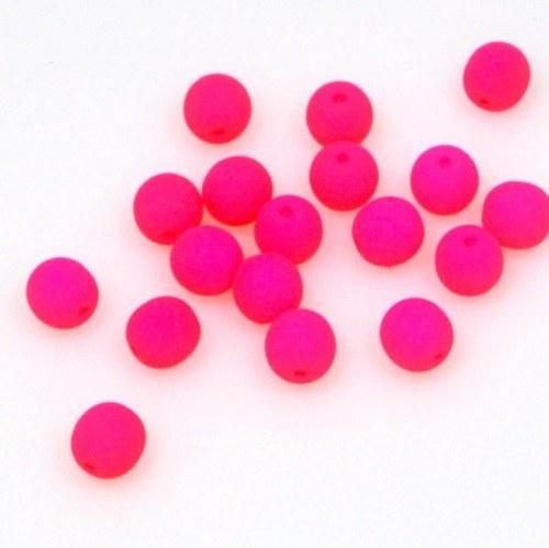 Neonové korálky 50 ks / 6 mm / růžové