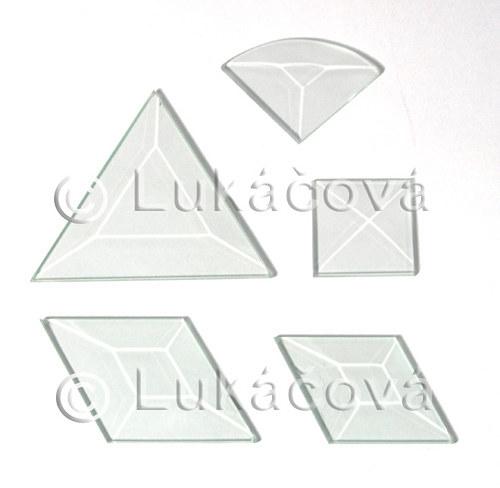 3. Skleněné fazety - čtverec ploška 3,0cm