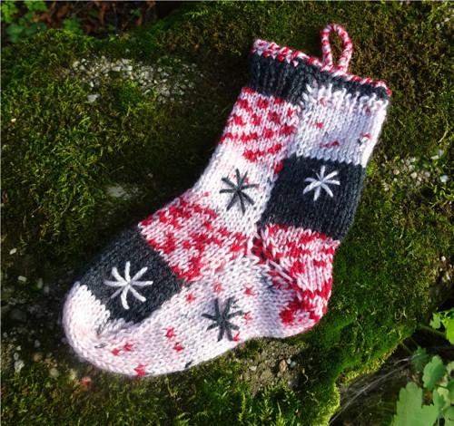 Mikulášská, vánoční punčocha - melír s hvězdičkou