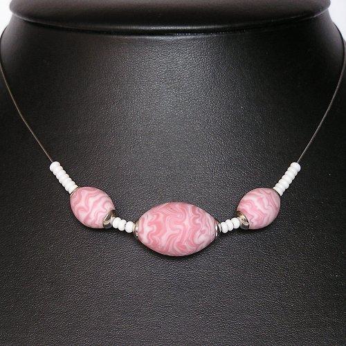 Náhrdelník - olivy - vinuté perle