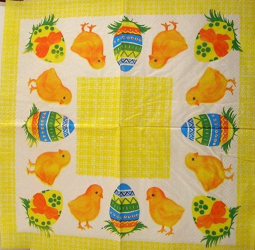 Ubrousek na decoupage - kuřátka - 33 x 33 cm