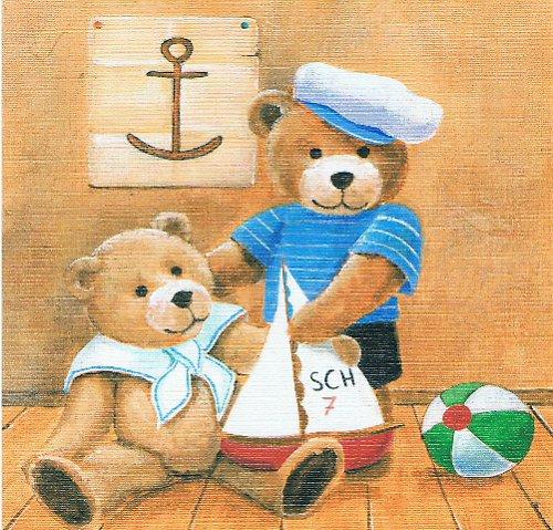 Reprodukce - tisk - Medvídci námořníci 15x15cm