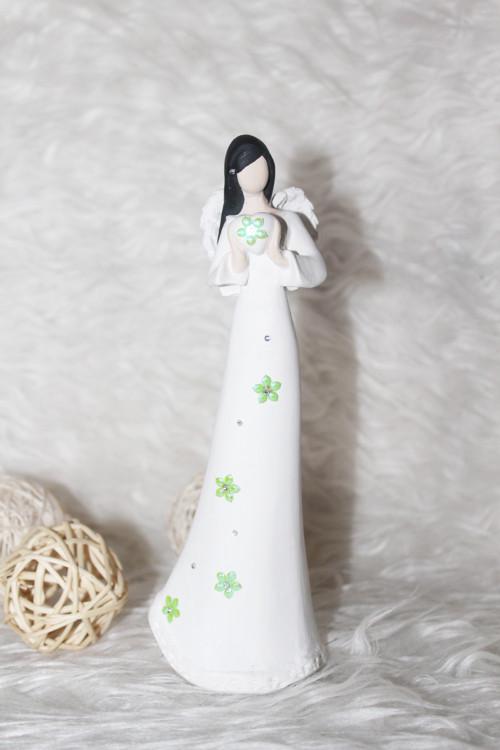 Jarní anděl - zelená kytička  - 17,5 cm