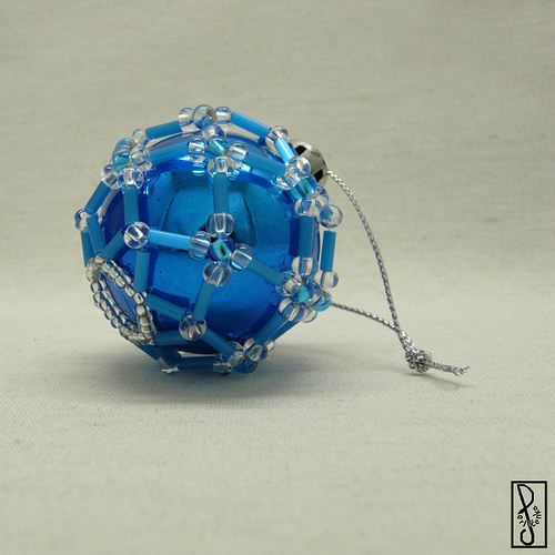 Vánoční koule modrá menší