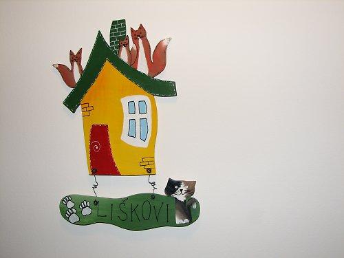 Dřevěná cedulka na dveře LIŠKOVI