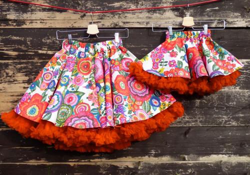 FuFu sukně duo - květy s oranžovou spodničkou
