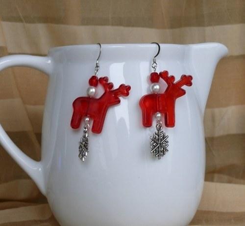 vánoční  náušnice - SOB červený s vločkou