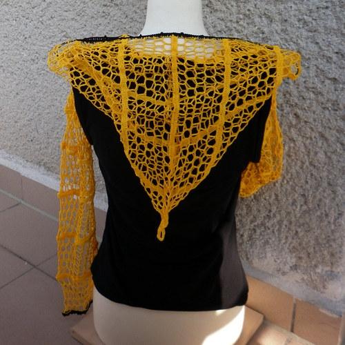 Háčkovaný top L černo-žlutý