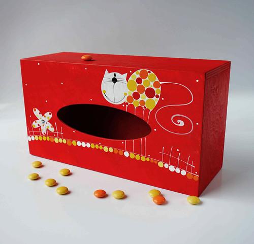 pelíšek pro trpaslíka - červený s kočkou