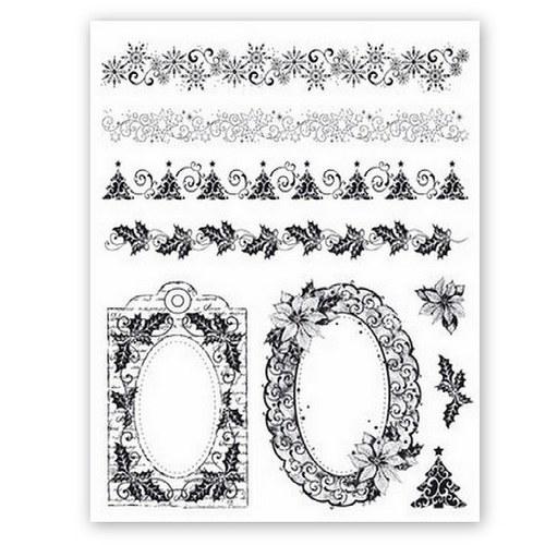Silikonová razítka Viva / Vánoční bordury a rámečk