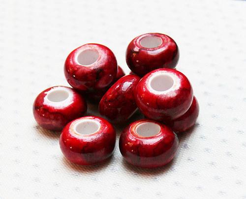 """Korálky - akryl \""""červené\"""" 5 ks"""