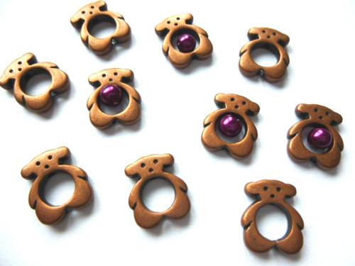 Bižuterní komponent  měděný - medvídci 4ks