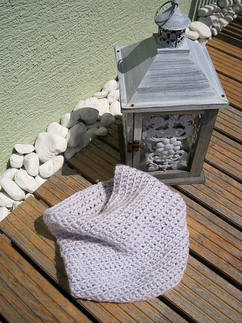 Háčkovaný nákrčník do setu - bledunko šedá