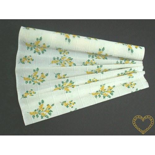 Krepový papír silný, hustě řasený, žluté kytičky