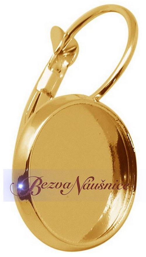 Náušnice s lůžkem na cabochon - barva zlatá