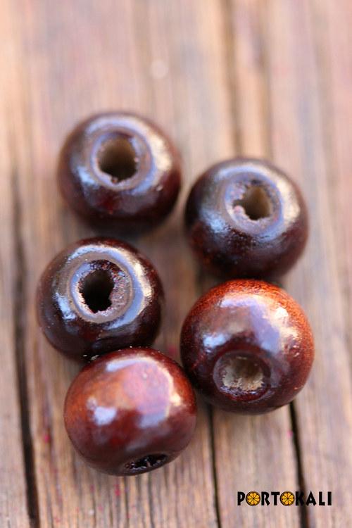 Dřevěné korálky hnědé 10 ks