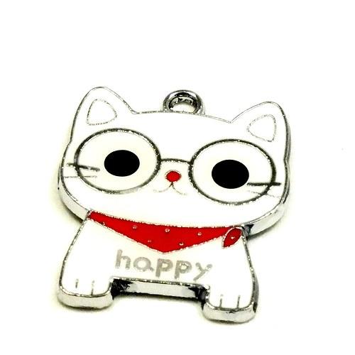"""Přívěsek - BÍLÁ kočka \""""HAPPY\"""",  1 ks"""