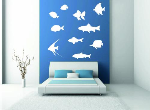 Samolepka na zeď - Rybí set