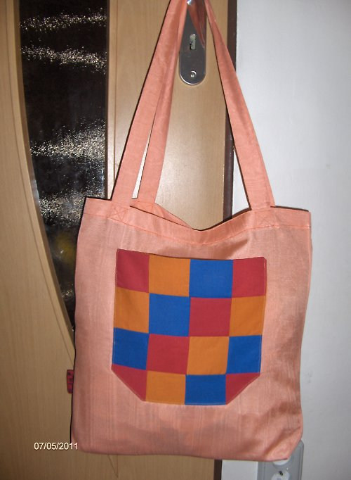 Lososová látková taška s kapsou