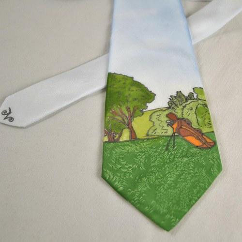 Hedvábná golfová kravata - barevná