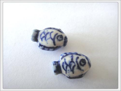 Čínský porcelánový korálek, rybka