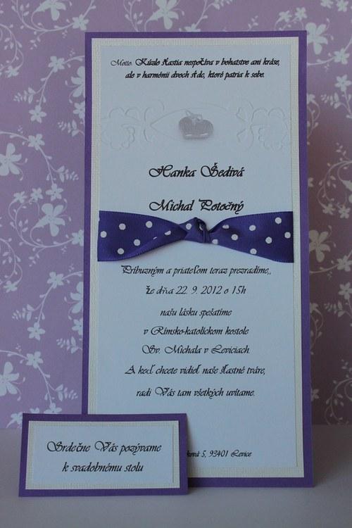 Svadobné oznámenie - fialovo biele