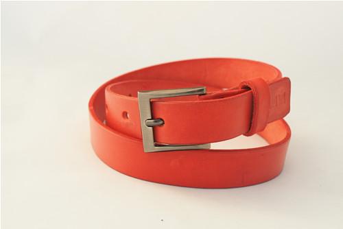 Kožený pásek 2,8 cm- červený -SKLADEM