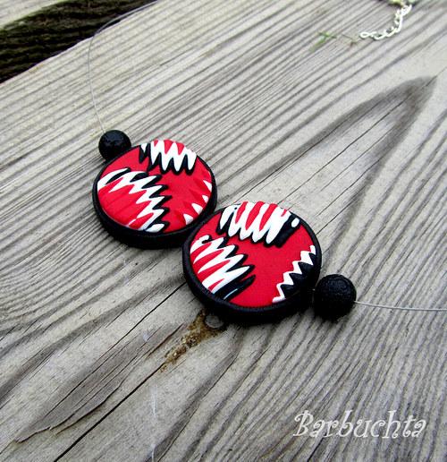 Náhrdelník BLACK & WHITE & RED kolečka