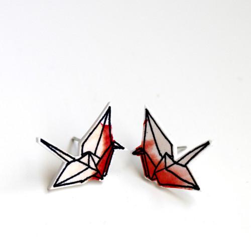 Náušnice: Origami jeřábi akvarel červení