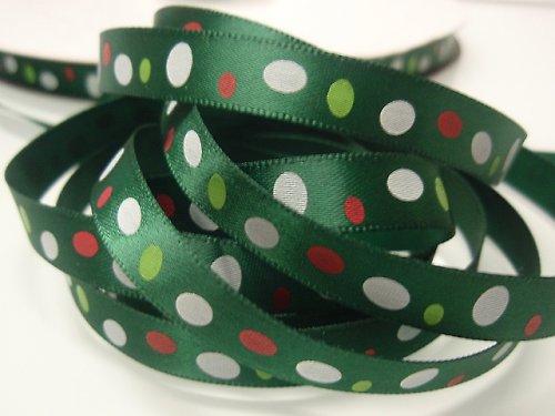 19515 Stuha vánoční oválky zelené, svazek 3m