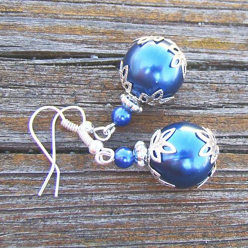 náušnice  modré perličky s lístky